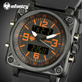 INFANTRY Men Quartz Watches Square Face Waterproof Rubber Strap Military Wristwatches Male Chronograph Clocks Relogio Masculino