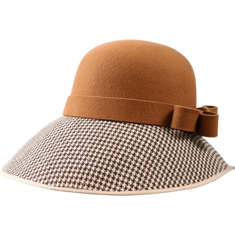 FS Large Wide Brim Hats Felt Women Wool Fedora Vintage Bow Houndstooth Cloche Hat Fedora Lady Winter Autumn Caps