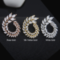 Rose Gold Plated Leaf  Shape New Fashion Cubic Zircon Stud Earrings Crystal Brand Earing For Women Pendientes Mujer Brinco WE119