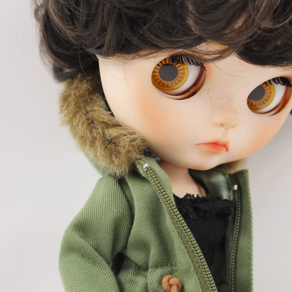 Neo Blythe Doll Denim Shorts Black Lace Bra With Green Army Jacket 6