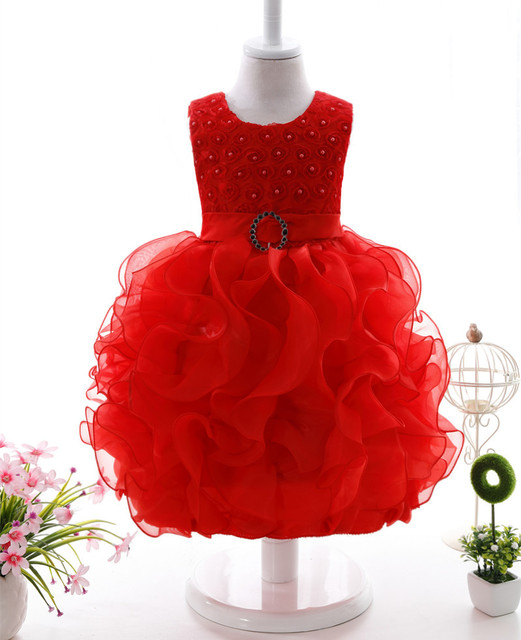 2017 nueva marca de 0-2 años de la muchacha de flores solid dress vestidos 7 colores wedding party dress baby girl arropa el envío libre
