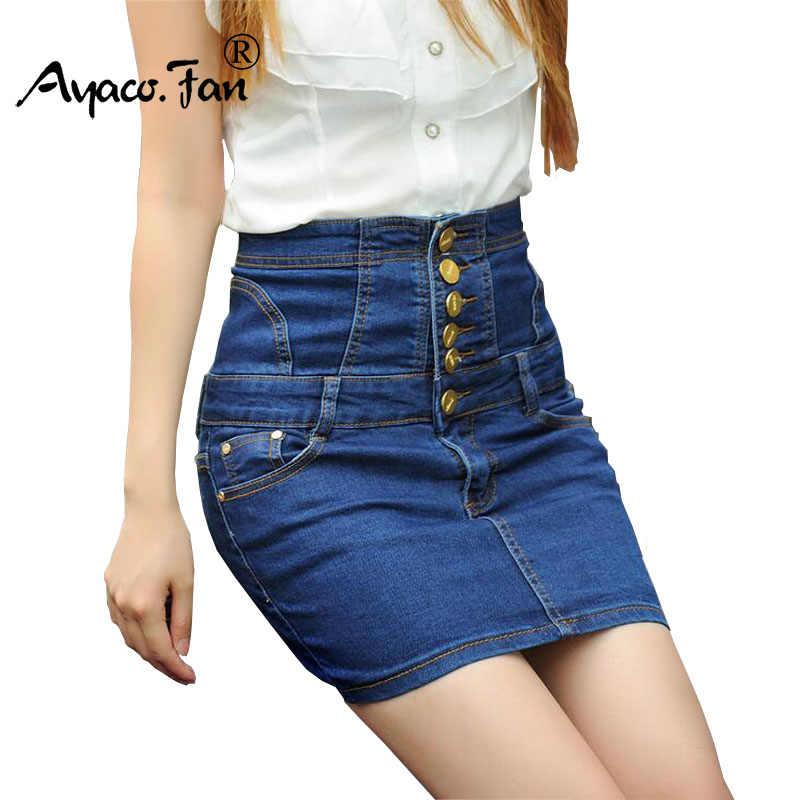 077f1e8006a 2019 New Casual Women Skirt Summer Saias Plus Size 5XL High Waist Jeans  Skirt Ladies Denim