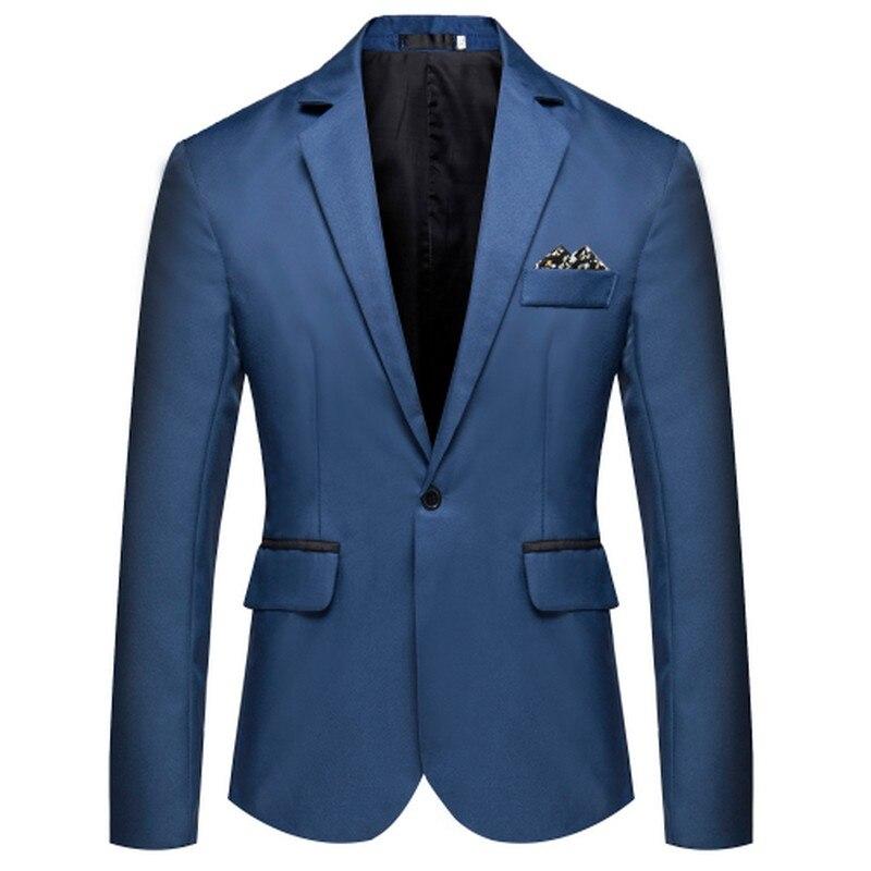 New Solid Color Dress Jacket Plus Size Long Sleeve Men's Suit Jackets One Buckle Wedding Man Coat Formal Men Clothes