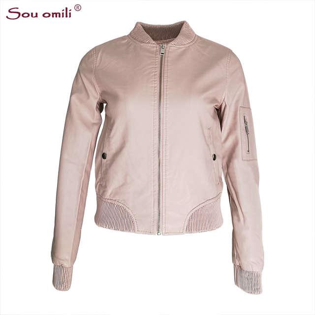 Online Shop New Leather Bomber Jacket Women Pink Blue Black Jacket