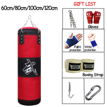 120cm Training Fitness MMA Boxing Punching Bag Empty Sport Kick Sandbag Muay Thai Boxer Training Set Wraps & Hook &a pair Gloves стоимость