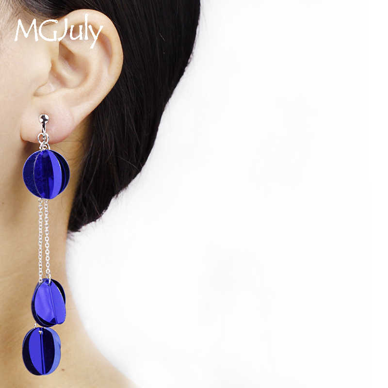 Blue Plastic Sequins Earrings No Hole Ear Clips Round Sequins Tassel Clip Earrings Without Piercing Women Long Earring CE190