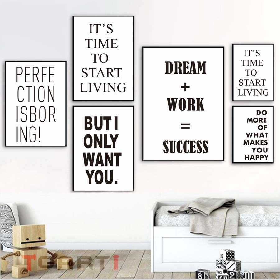 Dream Work Success Life Quotes Wall Art Muals For Living Room Home Decor Modular Wall Picture Canvas Painting Poster&Art Prints