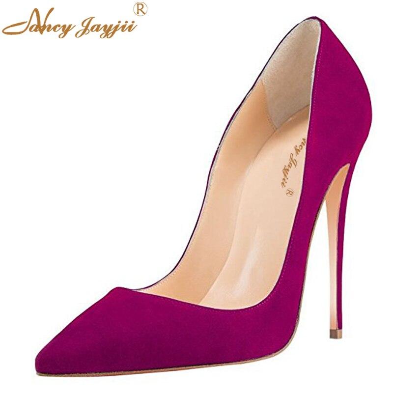 Moda Sexy Toe Gamuza Altos Tacones Partido Amarilla Zapatos purple Suave  8cm Violeta 10cm Calidad Bombas ... b389680bb727