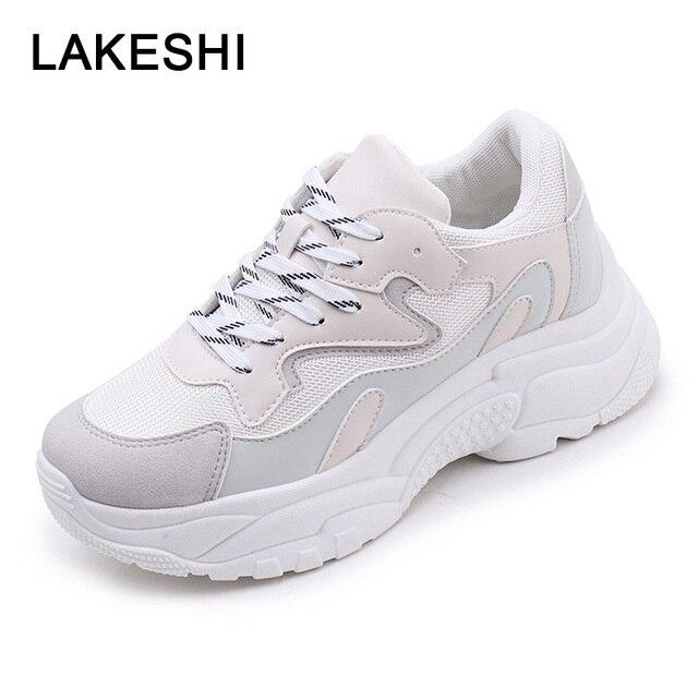 Для женщин кроссовки мода Вулканизированная обувь на толстой мягкой подошве женская повседневная обувь кроссовки на платформе со шнуровкой Обувь с дышащей сеткой обувь