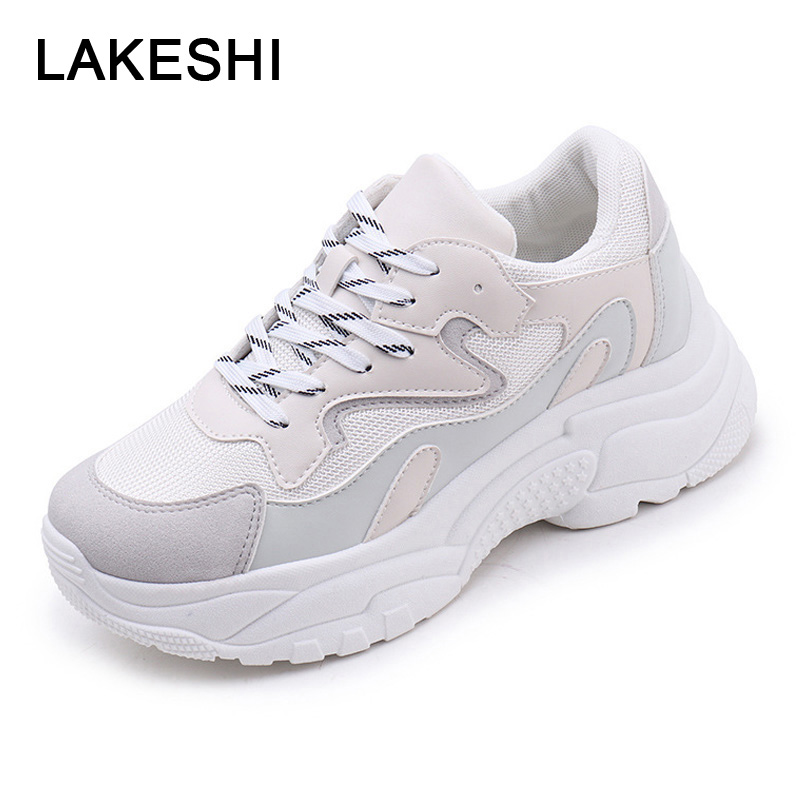 Women Sneakers Fashion Vulcanized Shoes Creepers Women Casual Shoes Platform Sneakers Lace Up Ladies Breathable Mesh Footwear women platforms lats shoes 2015 casual shoes ladies fashion footwear creepers lace up single shoes mujer zapatillas de deporte
