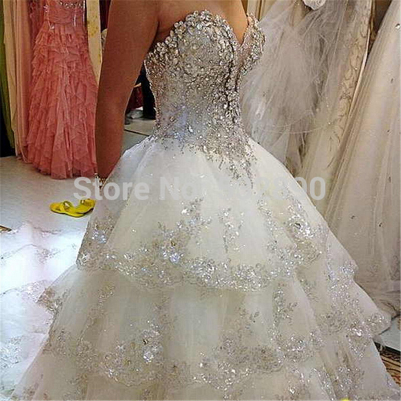 Luxuries Princess Desigh Bridal Gown Sweetheart Multi Layer Heavy Jewels Crystal Beige Wedding Dresses For Women In From Weddings Events