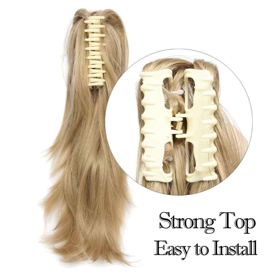 """S-noilite 12 """"DIY хвост пони короткий кудрявый зажим в Коготь Конский хвост наращивание волос W синтетический шиньон черный коричневый 95 г"""