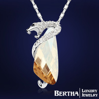 HOT Luxury Exaggeration Bohemian Snake Crystal Necklaces Pendants With Swarovski Elements For Women Men Jewelry Good