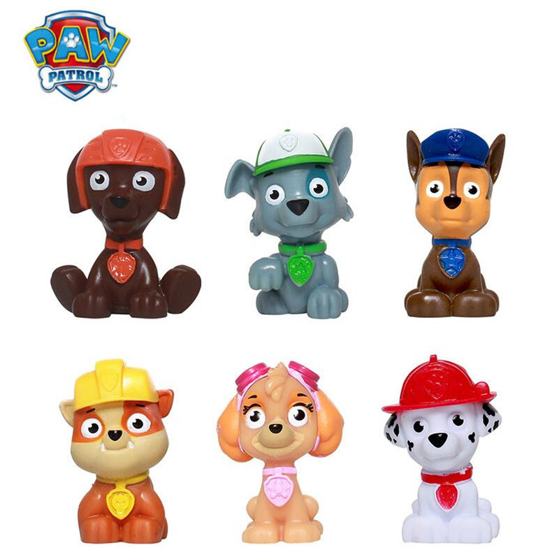 6Pcs Paw Patrol Dog Toys Set One Piece Anime Figure PVC Action Figure Model Birthday Gifts Patrulla Canina Toys For Chidren