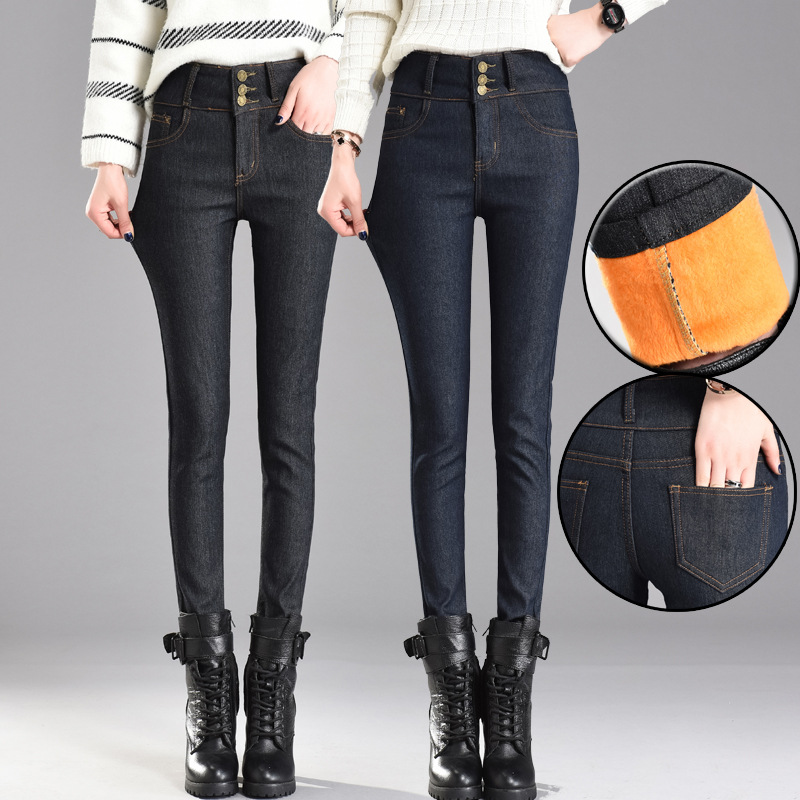 NOEMOV 2019 Fashion Women High Waist Winter Warm   Jeans   Pants Black Solid 3 Button Fleeces Thickening Denim Pencil Pants Trousers