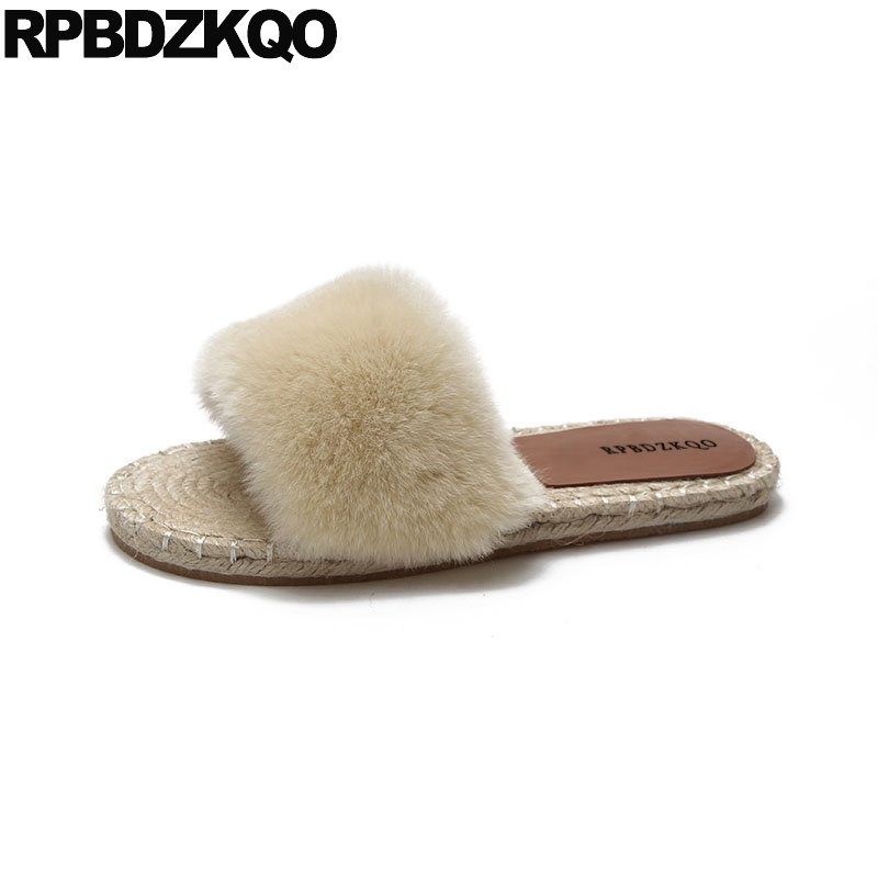 d2fa8050001e slides straw fuzzy faux fur sandals most popular products slippers casual  women brand shoes open toe fluffy korean plush furry