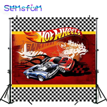 Sxy0208 Flag Racing Car Photography Backdrop For Boys Baby Shower Hot Wheel Party Backgrounds For Photo Studio 10x10ft