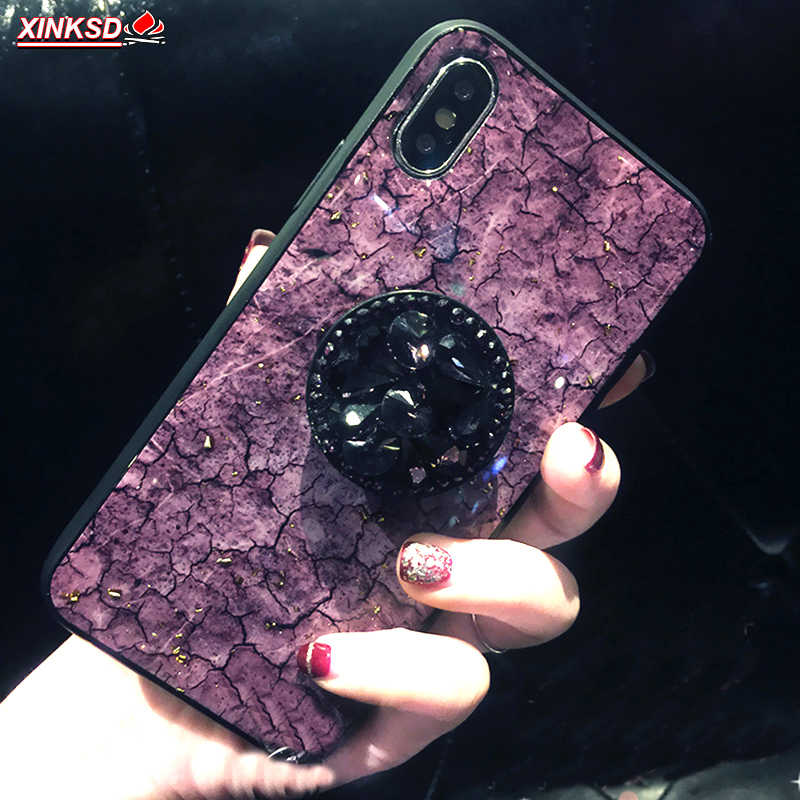 Luxury Diamond Marble Glitter silicone phone case for Huawei P20 lite Mate 20 pro P10 plus holder ring Cover On Honor 8X 7C 10 9