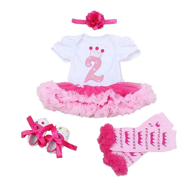 Toddler 2nd Birthday Tutu Outfits For Girls Lace Romper Dress Headband Leg Warmers Crib Shoes Infant Clothing Kids Clothes Sets