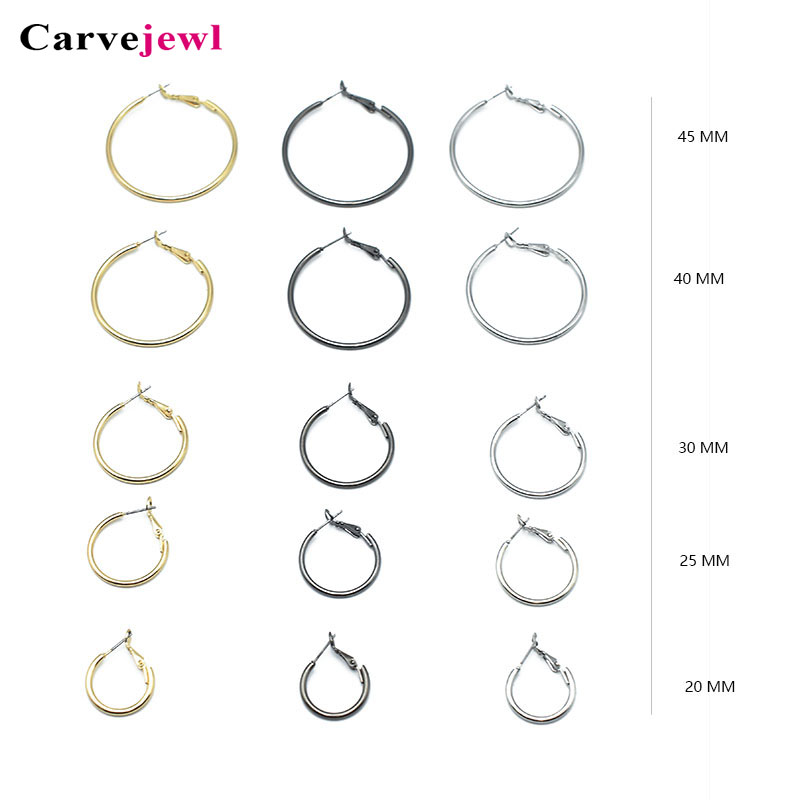 Carvejewl basic hoop earrings metal round simple for women jewelry different size classic fashion romantic earring