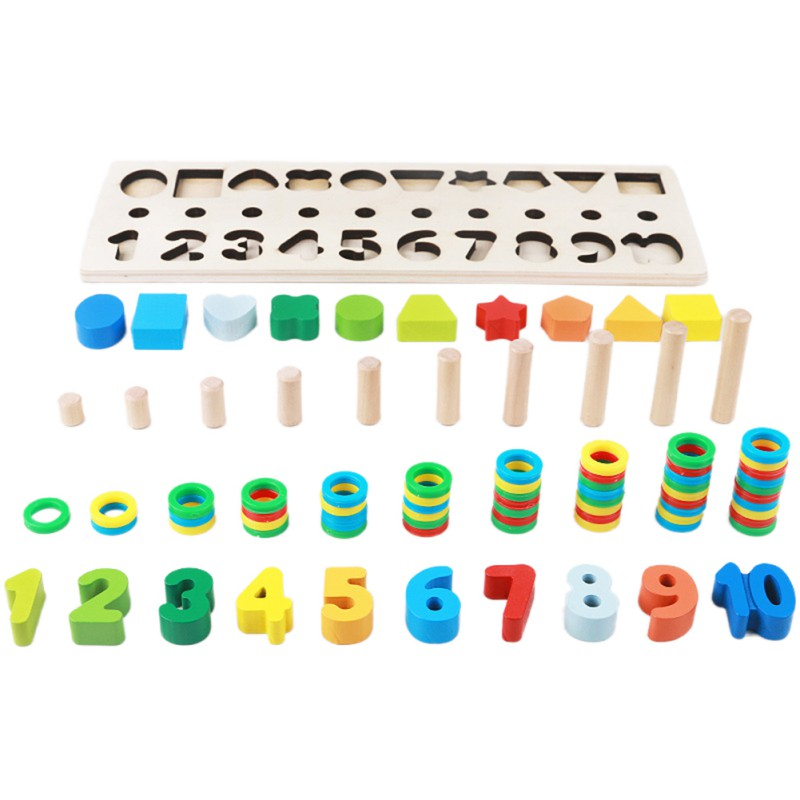 Kids Wooden Montessori Materials Learning To Count Numbers Matching Children Early Education Teaching Math Toys montessori education wooden toys four color game color matching early child kids education learning toys building blocks