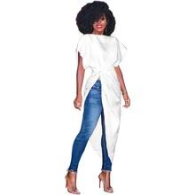 Fashion Women Solid Cascual Blouses Batwing Sleeve Pleated Slash Neck Shirts Short Asymmetrical Split Tops