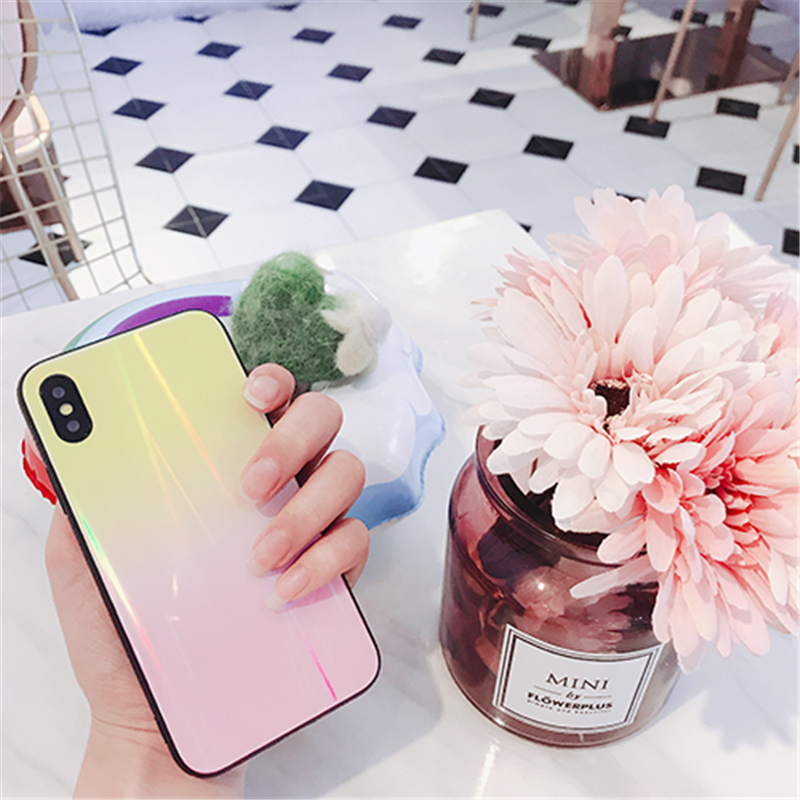 BONVAN For iPhone X 7 8 Plus Tempered Glass Back Case Gradient Color Laser Aurora Silicone Bumper For iPhone 7 6S 8 6 Plus Cover14