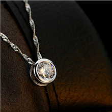 TJP Trendy Purple Crystal Round Pendants Necklace For Women Bride Wedding Bijou Charm Female 925 Silver Wave Choker Hot