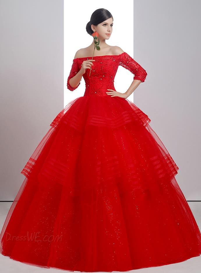 New Beautiful Elegant Red Ball Gown Off The Shoulder Half Sleeve ...