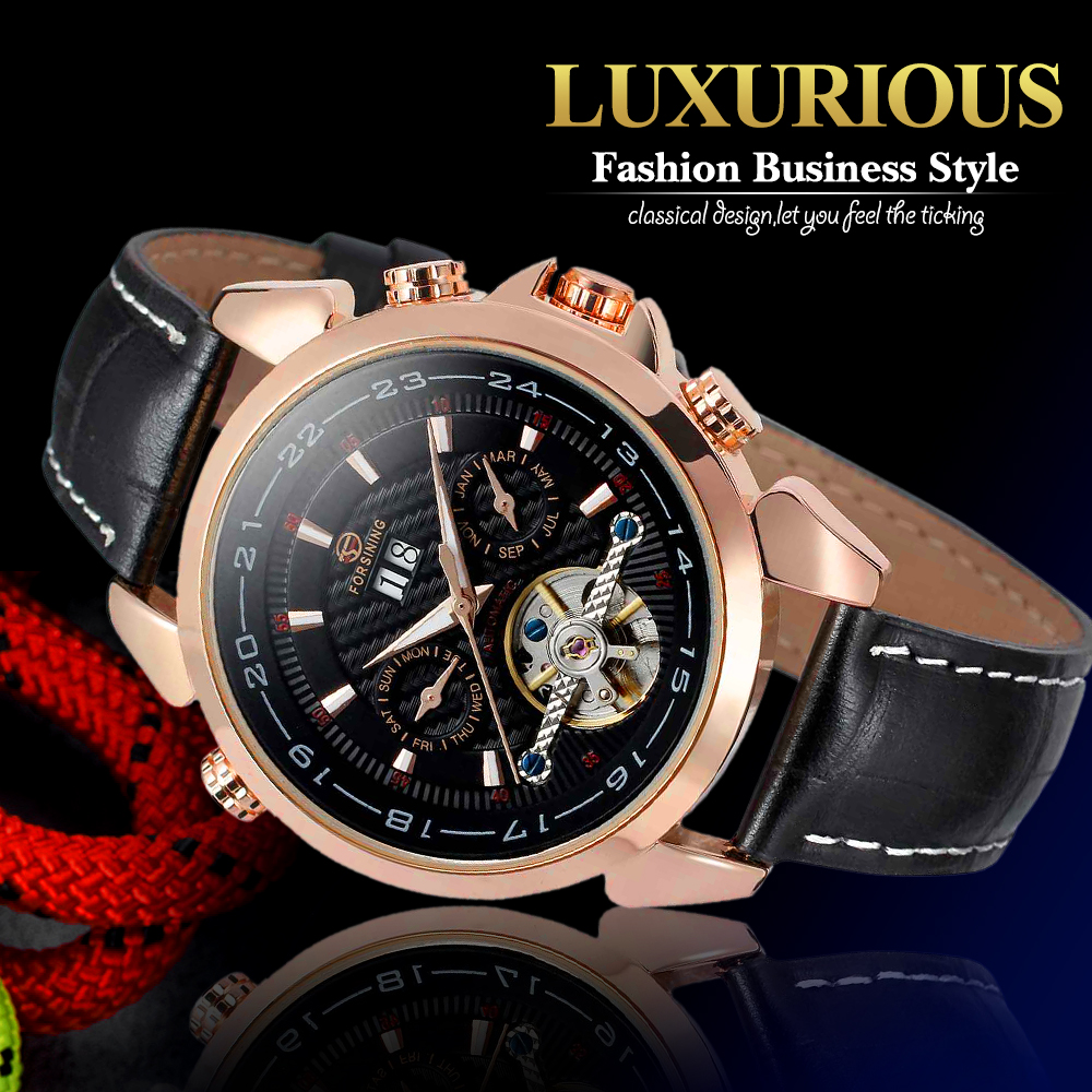 Forsining Men's Watch Automatic Self-Wind Black Genuine Leather Strap Classic Wristwatch FS057M3 Gift Box k colouring women ladies automatic self wind watch hollow skeleton mechanical wristwatch for gift box