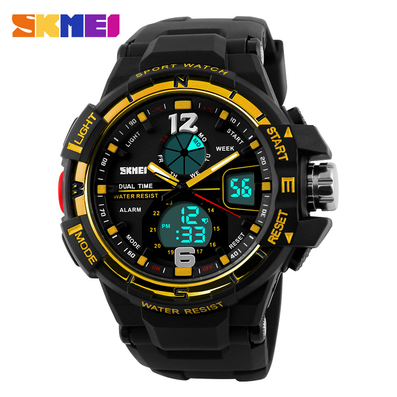 New Dual Display Men's Wristwatches Fashion Sports Watch Military Army Relogio Watches Men SKMEI Luxury Brand Quartz Clock Man skmei men quartz digital dual display sports watches new clock men outdoor military watch fashion student waterproof wristwatch