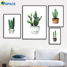 Watercolor Cactus Potted Posters And Prints Wall Art Canvas Painting Nordic Poster Pictures For Living Room Quadro Decor