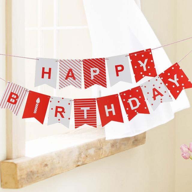 1 Set Happy Birthday Banner Red Stripe Design Birthday Party