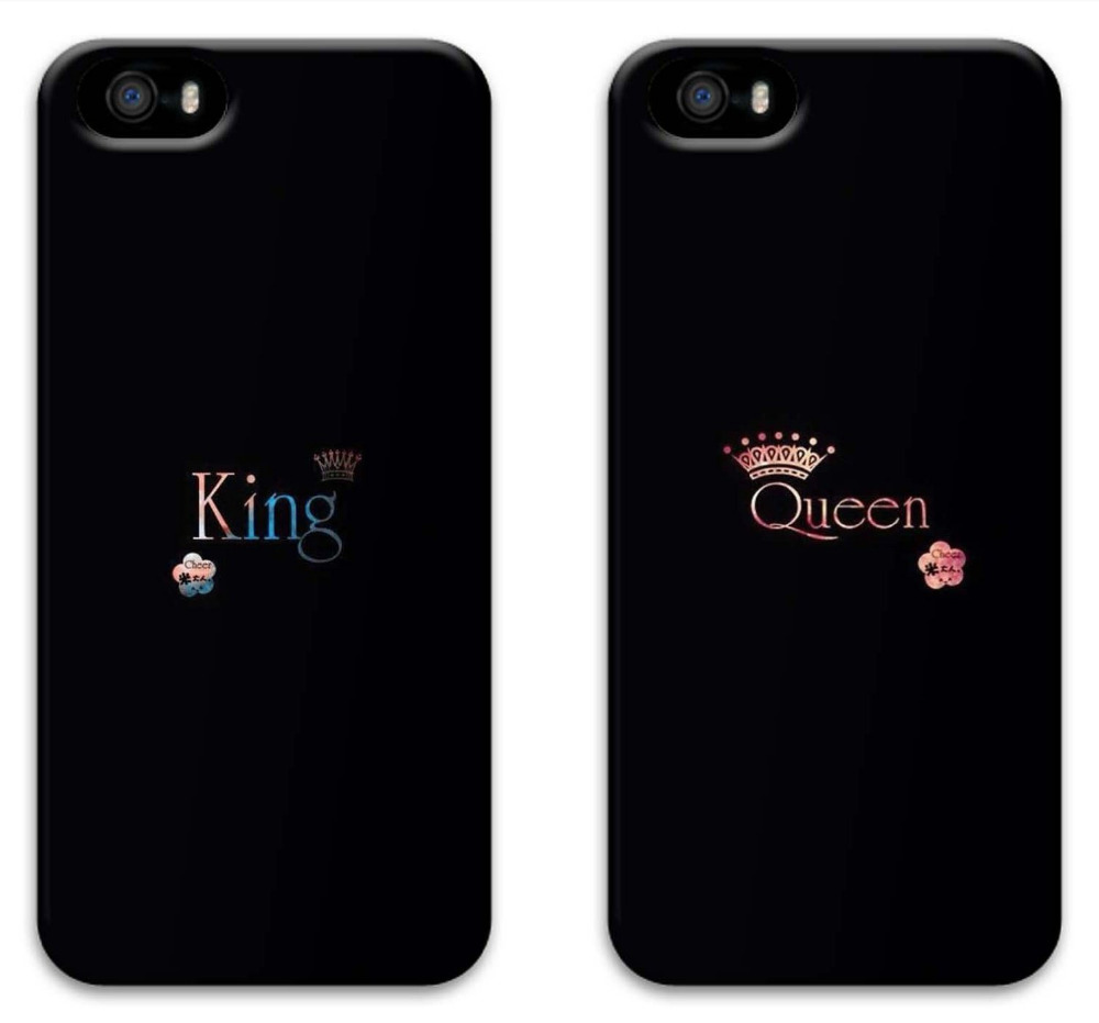 new product e42ab 68124 US $1.65 |LUCKBUY King and Queen Black Boyfriend Girlfriend Couples  Matching Cell Phone Cases for iphone 5S 4s 5c 6S 6PLUS 6sPLUS-in  Half-wrapped Case ...