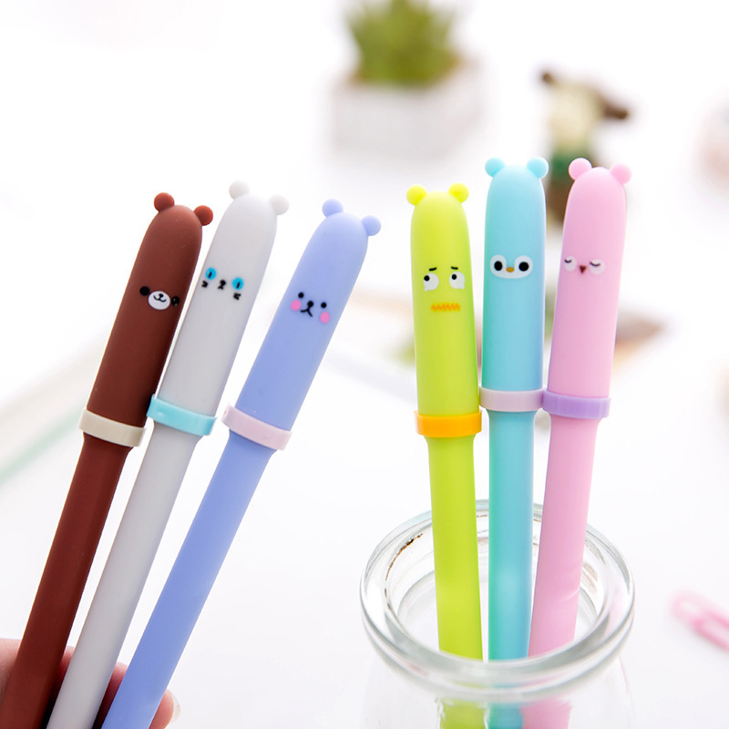 2 Pcs Korea Cartoon Animal Expression Gel Pen Student Writing Signature Pen Black Ink Office Stationery Supplies