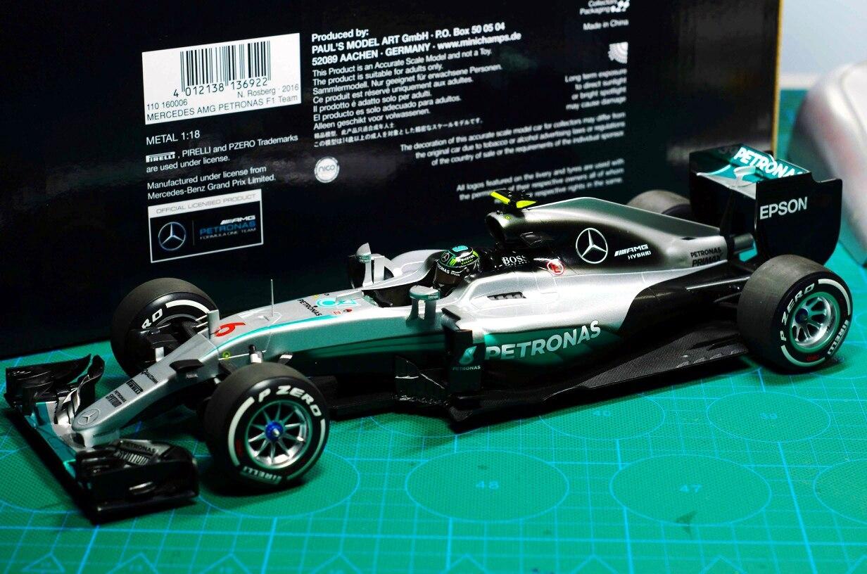 Métal F1 Collection modèle F1 formule 1 course modèle Mini coupé MINICHAMPS 1/18 Mercedes AMG W07 2016 australie station Rosberg