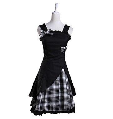 One-Piece/Dress Sweet Lolita Lolita Cosplay Lolita Dress Blanc/Noir Plaid/Vérifier Manches Courtes Longueur Dress Pour Femmes Cotto