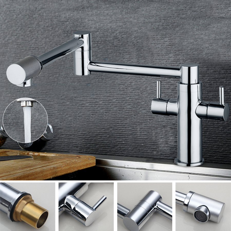 Swivel Kitchen Sink Faucet Single Handle Hot And Cold Mixer Tap Chrome Finish Faucet  Brass Folding Deck Mounted free shipping high quality chrome brass kitchen faucet single handle sink mixer tap pull put sprayer swivel spout faucet