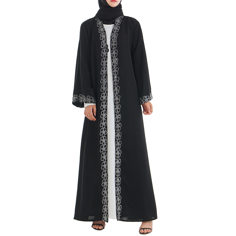 Babalet femmes musulmanes Robe noire islamique arabe haut de gamme Cardigan lâche mince Robe Dubai Robe grande balançoire Robe dentelle poignets EID