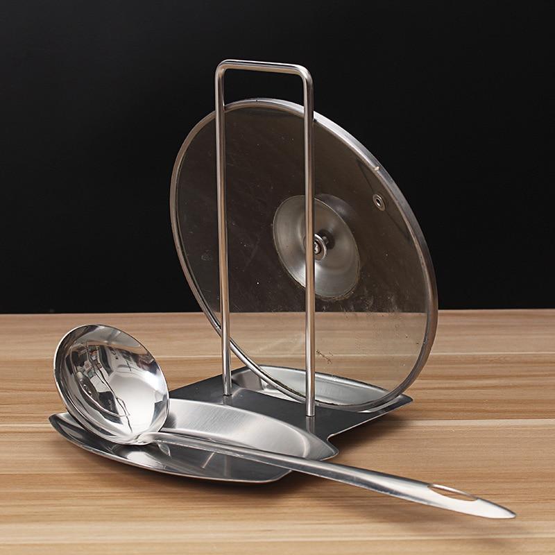 Tangki keluli tahan karat Tangki rak Spoon Pemegang pinggan rak dapur penganjur Pan penutup tudung rak aksesori dapur