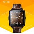 Correa de cuero de smart watch u11c soporta tarjetas micro sim conectividad bluetooth smartwatch para android ios teléfono nuevo reloj de la manera