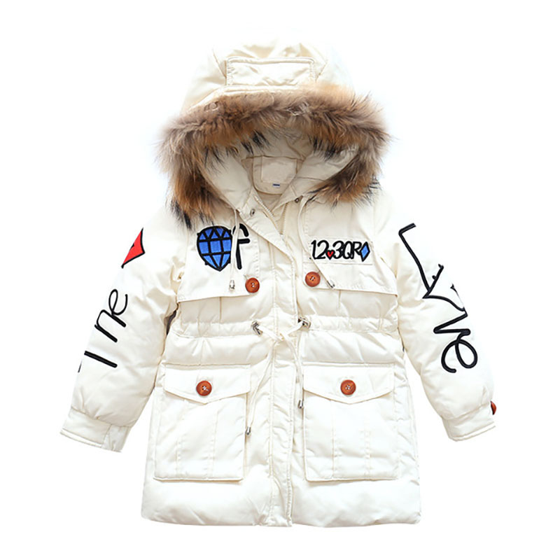 Girls parkas Winter Lovely Keeping Warm Kids Coat Children Cotton Fashion Fur Hooded Thick Outerwear Flap pocket 6 8 12 14 Years back vent flap pocket pea coat
