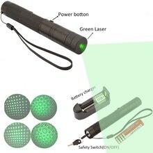 Top 303 Laser 10000 mw Verde Puntero Láser Ajustable de la Longitud Focal Con Star Patrón Del Filtro 4000 MAH 18650 de La Batería + cargador
