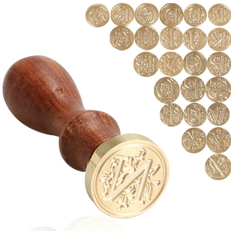 1PC Retro Letter A-X Sealing Wax Classic Initial Wax Seal Stamp Alphabet DIY Letter Wood Stamping Craft Gifts new 220v photosensitive portrait flash stamp machine kit self inking stamping making seal holder film pad no ink