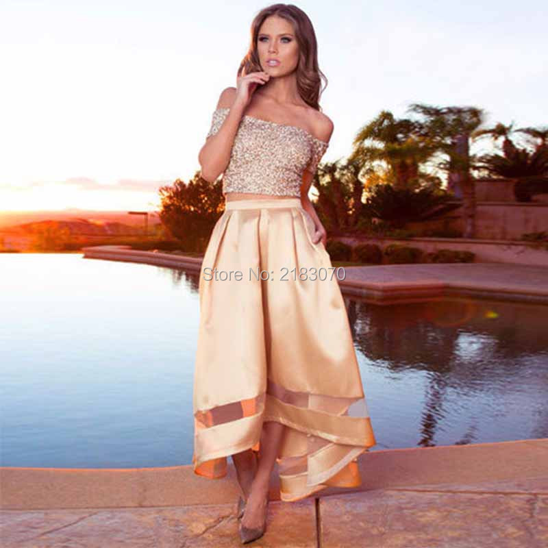 Two Piece Prom Dress 2016 Silver Sequin Top High Low Style