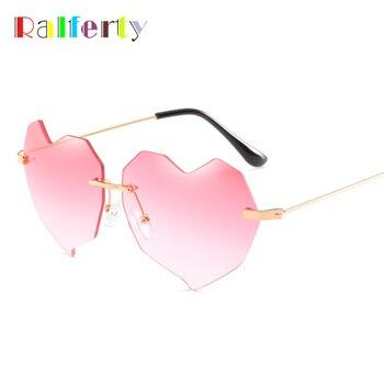 Ralferty ハート型サングラス女性オーシャンレンズ勾配サングラス UV400 シェードリムレスサングラス女性ピンク Oculos R66294