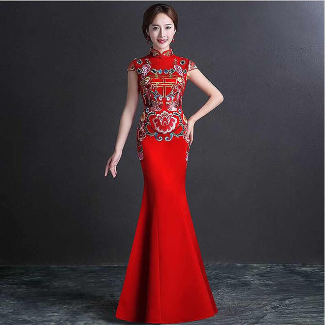 ef63174f670523 Chinese Traditionele Jurk Cheongsam Bruid Bruiloft Qipao Jurken Rood Mermaid  Avondjurk Robe Chinoise Vestido Oosterse Vintage