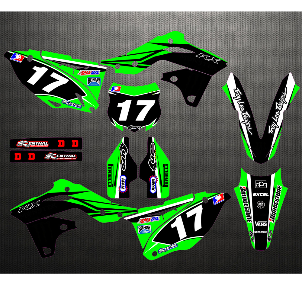 Stock Customized Number Gloss 17 TEAM GRAPHICS&BACKGROUNDS DECALS STICKERS For Kawasaki KX250F KXF250 2013 2014 2015 2016 KX 250