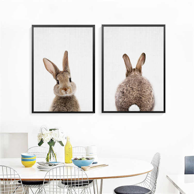 Home Decor Rabbit Art Prints Poster Nursery Wall Picture Kawaii Animals Canvas Painting Kids Room No Frame FG0105S