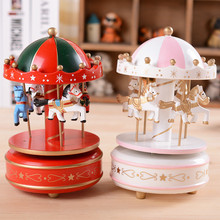 NEW City Dome Colorful Carousel Horses Music Box Creative Merry-go-round Music box For Kids Birthday Wedding Gift Toy Home Decor